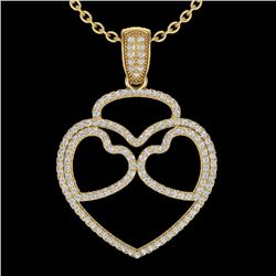 1.20 CTW Micro Pave VS/SI Diamond Designer Heart Necklace 14K Yellow Gold - REF-110K9R - 22548