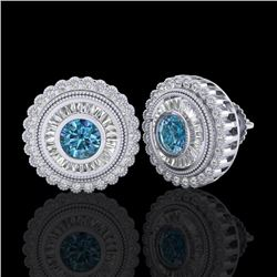 2.61 CTW Fancy Intense Blue Diamond Art Deco Stud Earrings 18K White Gold - REF-300W2H - 37908