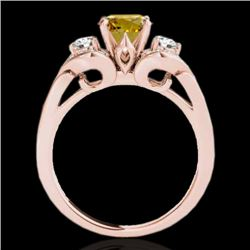 1.45 CTW Certified Si Fancy Intense Yellow Diamond 3 Stone Ring 10K Rose Gold - REF-180R2K - 35339
