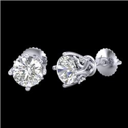 1.26 CTW VS/SI Diamond Solitaire Art Deco Stud Earrings 18K White Gold - REF-209R3K - 37019