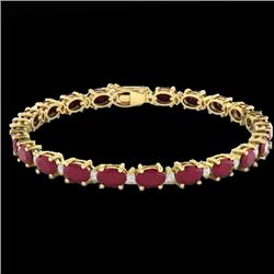 30.8 CTW Ruby & VS/SI Certified Diamond Eternity Bracelet 10K Yellow Gold - REF-217X5T - 29460