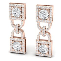 4 CTW Certified SI/I Diamond Halo Earrings 18K Rose Gold - REF-265X9T - 40158