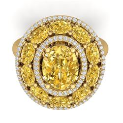 7.21 CTW Royalty Canary Citrine & VS Diamond Ring 18K Yellow Gold - REF-163R6K - 39254