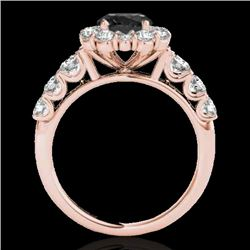 2.9 CTW Certified Vs Black Diamond Solitaire Halo Ring 10K Rose Gold - REF-122W5H - 33395