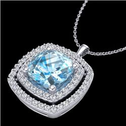 2.08 CTW Sky Blue Topaz & Micro Pave VS/SI Diamond Halo Necklace 18K White Gold - REF-63K3R - 20449