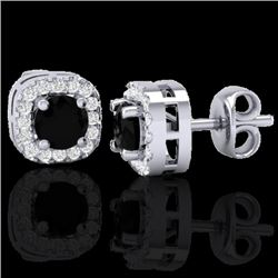 0.90 CTW Micro Pave Black & VS/SI Diamond Earrings Designer Halo 18K White Gold - REF-40N2Y - 21169