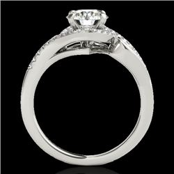 1.25 CTW H-SI/I Certified Diamond Solitaire Halo Ring Two Tone 10K White Gold - REF-155H5W - 34168