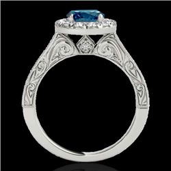 1.7 CTW SI Certified Fancy Blue Diamond Solitaire Halo Ring 10K White Gold - REF-178F2M - 33729