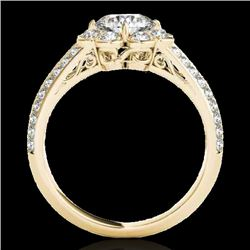 1.5 CTW H-SI/I Certified Diamond Solitaire Halo Ring 10K Yellow Gold - REF-171F6M - 34470