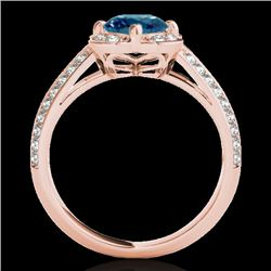 1.5 CTW SI Certified Fancy Blue Diamond Solitaire Halo Ring 10K Rose Gold - REF-180W2H - 34262