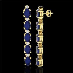 12.36 CTW Sapphire & VS/SI Certified Diamond Tennis Earrings 10K Yellow Gold - REF-69Y5N - 29406