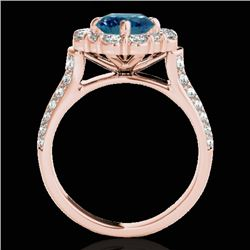 2.16 CTW SI Certified Fancy Blue Diamond Solitaire Halo Ring 10K Rose Gold - REF-221M8F - 33955