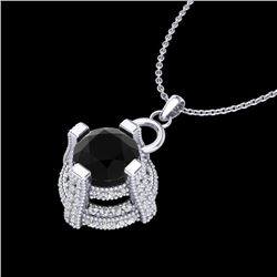 1.57 CTW Fancy Black Diamond Solitaire Micro Pave Stud Necklace 18K White Gold - REF-106W4H - 37632