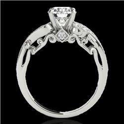 1.25 CTW H-SI/I Certified Diamond Solitaire Antique Ring 10K White Gold - REF-156M4F - 34792
