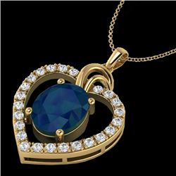 4 CTW Sapphire & VS/SI Diamond Designer Inspired Heart Necklace 14K Yellow Gold - REF-74K9R - 20497