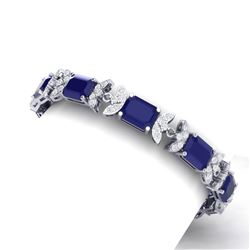 38.13 CTW Royalty Sapphire & VS Diamond Bracelet 18K White Gold - REF-454N5Y - 39396