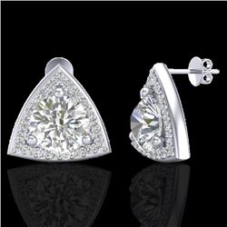 3 CTW Micro Pave Halo VS/SI Diamond Certified Stud Earrings 18K White Gold - REF-824T3X - 20188