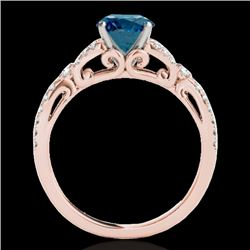 1.35 CTW SI Certified Fancy Blue Diamond Solitaire Ring 10K Rose Gold - REF-167M3F - 35229