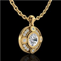 1.01 CTW VS/SI Diamond Solitaire Art Deco Necklace 18K Yellow Gold - REF-221R8K - 36985