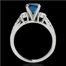 1.5 CTW SI Certified Fancy Blue Diamond 3 Stone Ring 10K White Gold - REF-172X8T - 35408