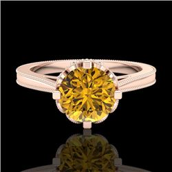1.5 CTW Intense Fancy Yellow Diamond Engagement Art Deco Ring 18K Rose Gold - REF-209W3H - 37351