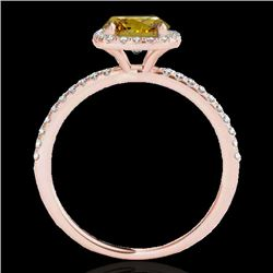 1.25 CTW Certified Si Fancy Intense Yellow Diamond Solitaire Halo Ring 10K Rose Gold - REF-161K5R -
