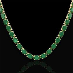 68 CTW Emerald Eternity Designer Inspired Tennis Necklace 14K Yellow Gold - REF-234H9W - 23402