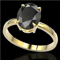 5 CTW Black VS/SI Diamond Designer Inspired Solitaire Ring 18K Yellow Gold - REF-124Y9N - 22056