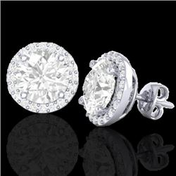 3.50 CTW Halo VS/SI Diamond Micro Pave Earrings Solitaire 18K White Gold - REF-942H5W - 21489