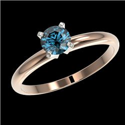 0.50 CTW Certified Intense Blue SI Diamond Solitaire Engagement Ring 10K Rose Gold - REF-58H2W - 328