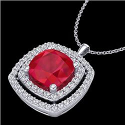 2.52 CTW Ruby & Micro Pave VS/SI Diamond Certified Halo Necklace 18K White Gold - REF-76K4R - 20461