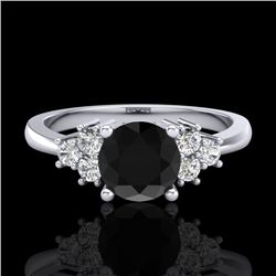 1 CTW Fancy Black Diamond Solitaire Engagement Classic Ring 18K White Gold - REF-80F2M - 37590