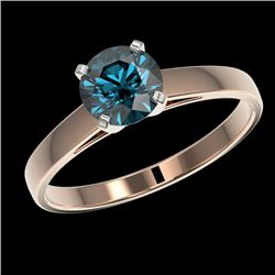 1 CTW Certified Intense Blue SI Diamond Solitaire Engagement Ring 10K Rose Gold - REF-140F4M - 32988
