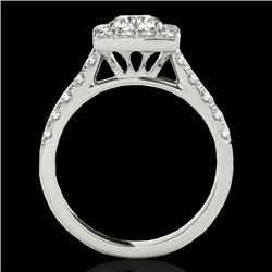 2.5 CTW H-SI/I Certified Diamond Solitaire Halo Ring 10K White Gold - REF-385R8K - 34141