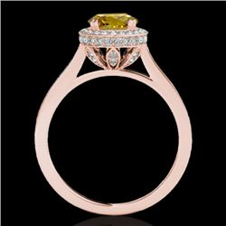 1.55 CTW Certified Si Fancy Intense Yellow Diamond Solitaire Halo Ring 10K Rose Gold - REF-180M2F -