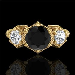 1.66 CTW Fancy Black Diamond Solitaire Art Deco 3 Stone Ring 18K Yellow Gold - REF-123Y3N - 38054