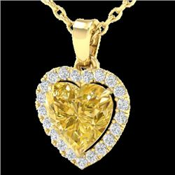1 CTW Citrine & Micro Pave VS/SI Diamond Heart Necklace Halo 14K Yellow Gold - REF-28X4T - 21337