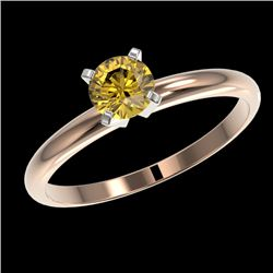 0.50 CTW Certified Intense Yellow SI Diamond Solitaire Engagement Ring 10K Rose Gold - REF-58M2F - 3