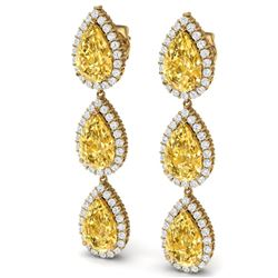 24.23 CTW Royalty Canary Citrine & VS Diamond Earrings 18K Yellow Gold - REF-290N9Y - 38855