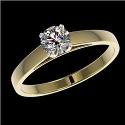0.55 CTW Certified H-SI/I Quality Diamond Solitaire Engagement Ring 10K Yellow Gold - REF-51H3W - 36