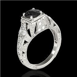 1.25 CTW Certified Vs Black Diamond Solitaire Antique Ring 10K White Gold - REF-68N4Y - 34669