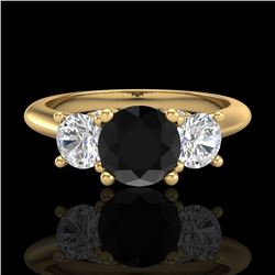 1.5 CTW Fancy Black Diamond Solitaire Art Deco 3 Stone Ring 18K Yellow Gold - REF-136X4T - 38264