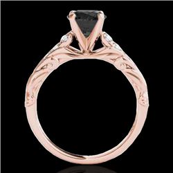 1.2 CTW Certified Vs Black Diamond Solitaire Ring 10K Rose Gold - REF-58H2W - 34938