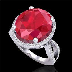 12 CTW Ruby & Micro Pave VS/SI Diamond Certified Halo Ring 18K White Gold - REF-143F6M - 20965