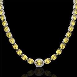 45.25 CTW Citrine & VS/SI Diamond Tennis Micro Pave Halo Necklace 14K White Gold - REF-200T2X - 4026