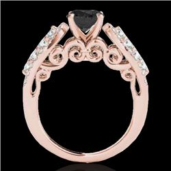 2 CTW Certified Vs Black Diamond Solitaire Ring 10K Rose Gold - REF-95K6R - 35272