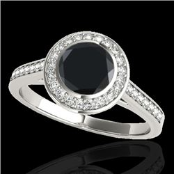 1.3 CTW Certified Vs Black Diamond Solitaire Halo Ring 10K White Gold - REF-65W8H - 33628