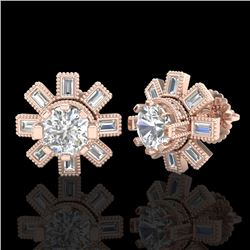 1.77 CTW VS/SI Diamond Solitaire Art Deco Stud Earrings 18K Rose Gold - REF-263H6W - 37065