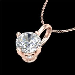 0.82 CTW VS/SI Diamond Solitaire Art Deco Stud Necklace 18K Rose Gold - REF-180F2M - 37026