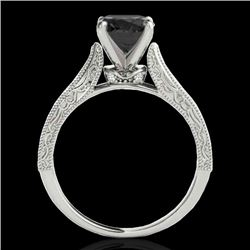 1.5 CTW Certified Vs Black Diamond Solitaire Antique Ring 10K White Gold - REF-52T5X - 34732